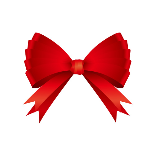 蝶のような真っ赤なリボンイラスト素材