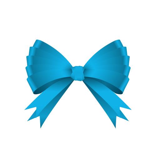 ゴージャスな青色のリボンイラスト素材