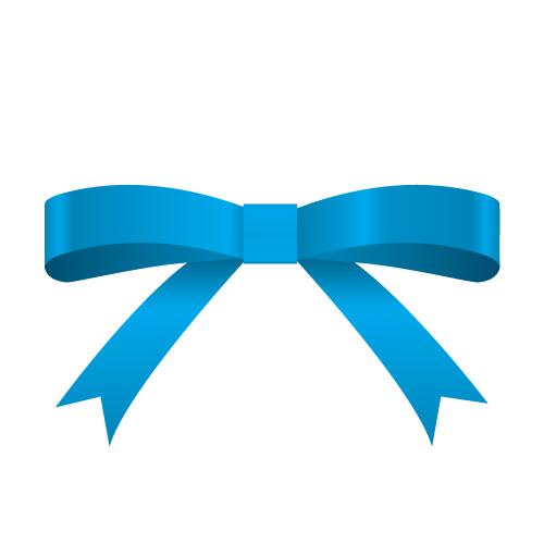 青色のシンプルなリボンイラスト