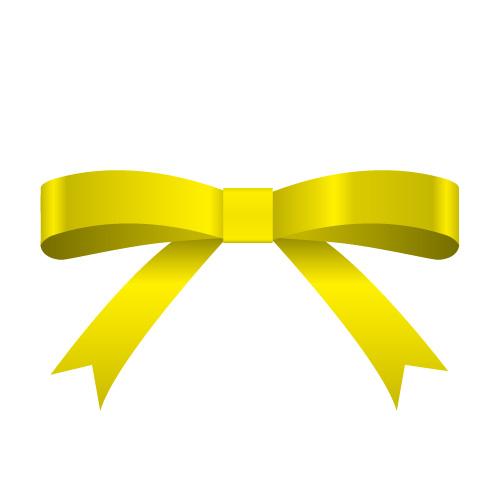 黄色のシンプルなリボンイラスト素材