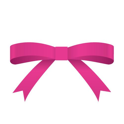 ピンク色のシンプルなリボンイラスト