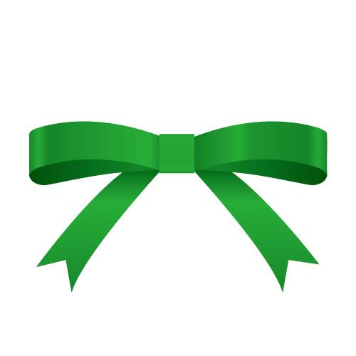 緑色のシンプルなリボンイラスト