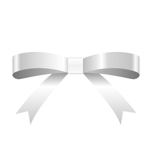 銀色のシンプルなリボンイラスト