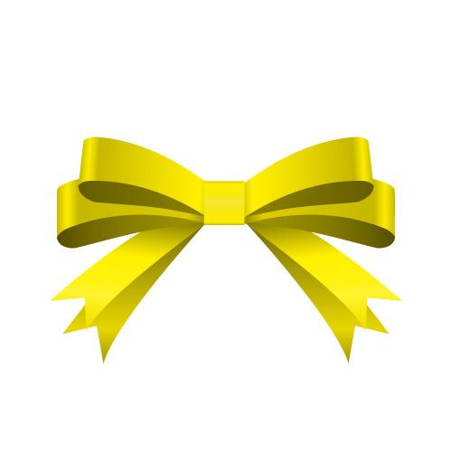 黄色の帯で二重に結ばれたリボンイラスト
