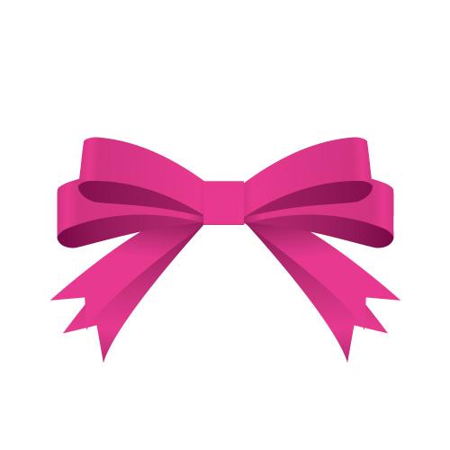 ピンク色の帯で二重に結ばれたリボンイラスト