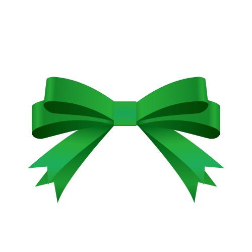 緑色の帯で二重に結ばれたリボンイラスト