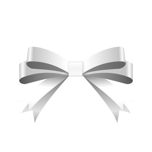 銀色の帯で二重に結ばれたリボンイラスト