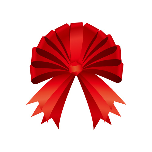ゴージャスな赤いリボンイラスト