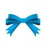 青い帯で二重に結ばれたリボンイラスト