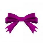 紫の帯で二重に結ばれたリボンイラスト