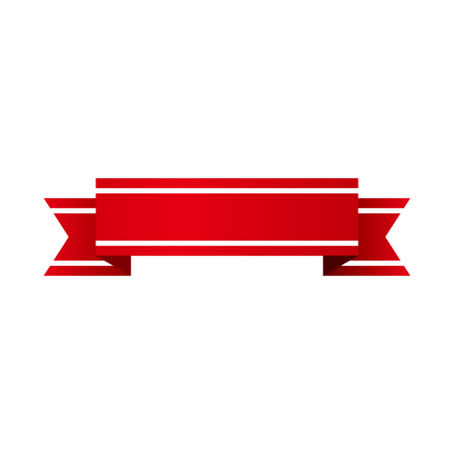 白いラインの入った赤いリボンのイラスト素材