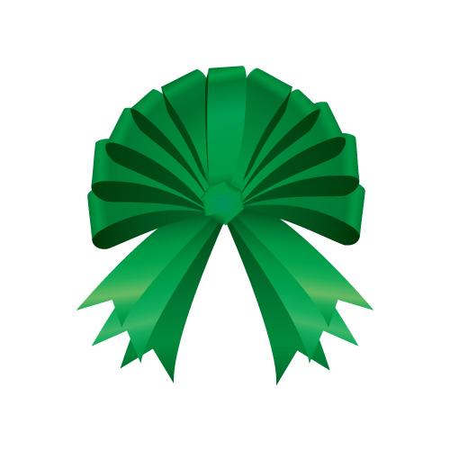 半円の形に結ばれた緑色のリボンイラスト