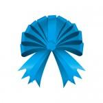 半円の形に結ばれたブルーのリボンイラスト