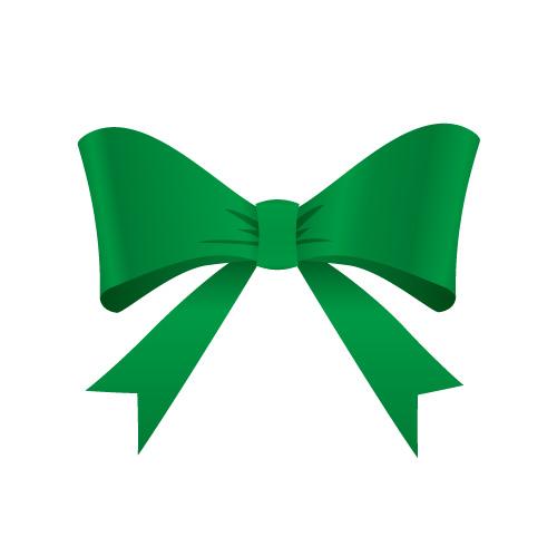 発色良い緑のリボンイラスト