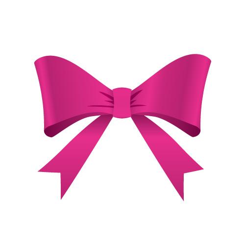 蝶のように広がるピンク色のリボンイラスト