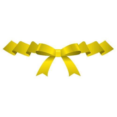 ひらひらとした黄色のリボンイラスト素材