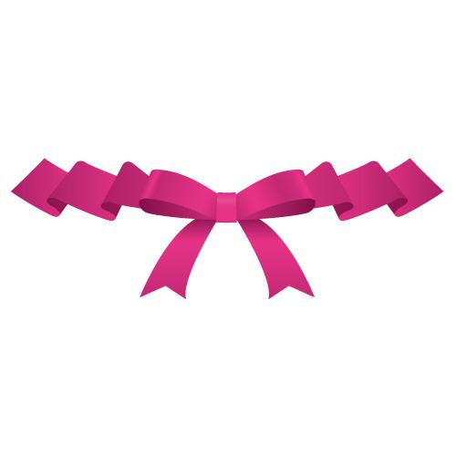 ひらひらとしたピンク色のリボンイラスト