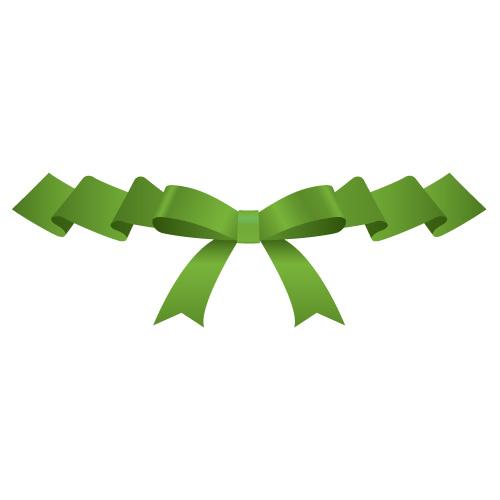 ひらひらとしたグリーンのリボンイラスト素材