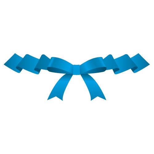 ひらひらとした青いリボンイラスト