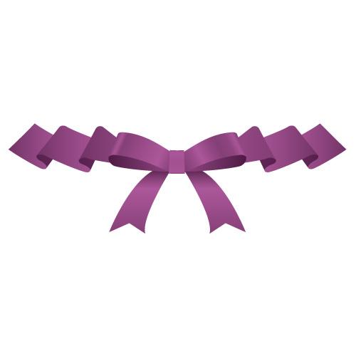 ひらひらとした紫色のリボンイラスト