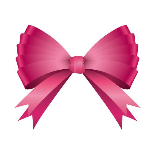 ピンク色のリボンイラスト