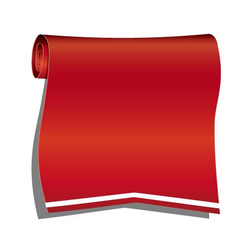 赤色のロールリボンイラスト