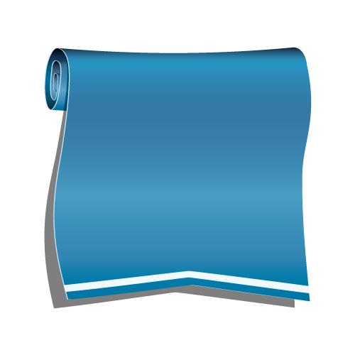 青色のロールリボンイラスト
