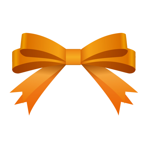 オレンジ色のリボンイラスト