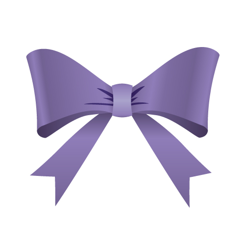 紫色のリボンイラスト