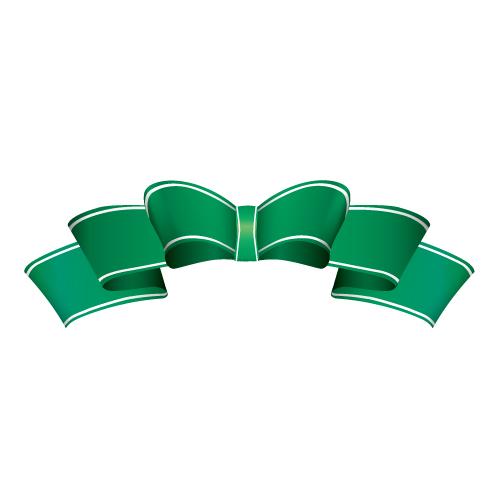 緑色のひらひらしたのリボンイラスト