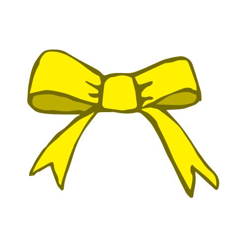 黄色のラフな手描きのリボンイラスト