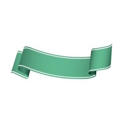 【無料・商用可能】リボン・タグイラレ素材ダウンロード緑色のなめらかな帯イラスト