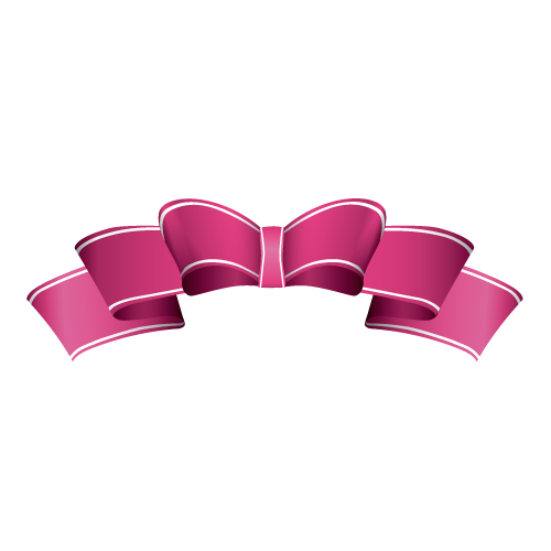 ピンク色のひらひらしたのリボンイラスト
