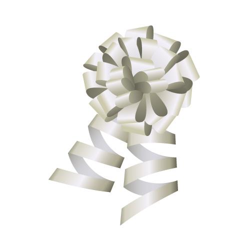 銀色のロール付きボンボンリボンイラスト