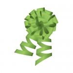 緑色のロール付きボンボンリボンイラスト