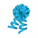 青色のロール付きボンボンリボンイラスト