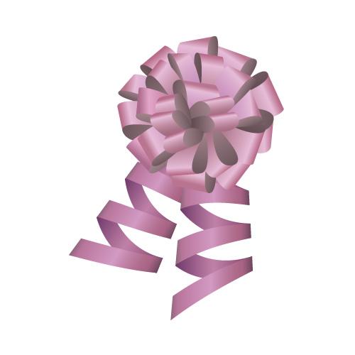 紫色のロール付きボンボンリボンイラスト