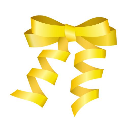 ゴールドのロールリボンイラスト