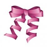 ピンク色のロールリボンイラスト