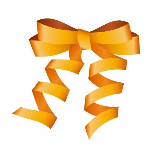 オレンジ色のロールリボンイラスト
