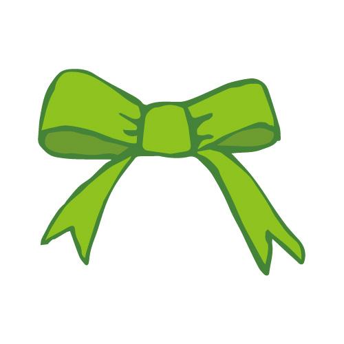 緑色のラフな手描きのリボンイラスト