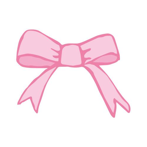 ピンク色のラフな手描きのリボンイラスト