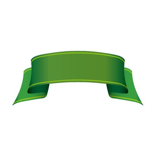 結び目のない緑色のリボンイラスト