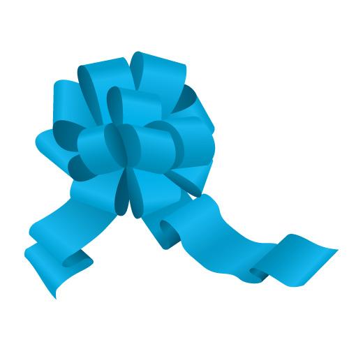 青色のボンボンリボンイラスト
