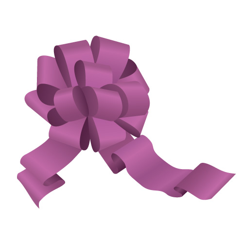 紫色のボンボンリボンイラスト