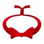 赤色の輪っかに縛られたリボンイラスト