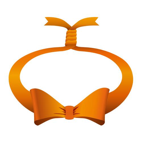 オレンジ色の輪っかに縛られたリボンイラスト
