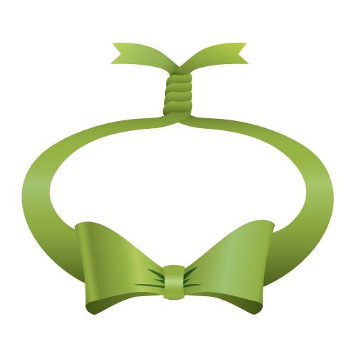 緑色の輪っかに縛られたリボンイラスト