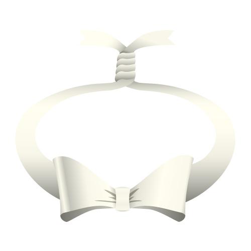 銀色の輪っかに縛られたリボンイラスト