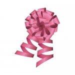 ピンク色のロール付きボンボンリボンイラスト